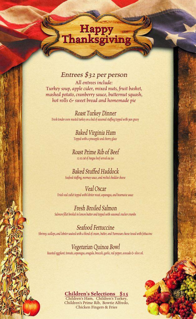 Thanksgiving Menu The Homestead Tavern Restaurant
